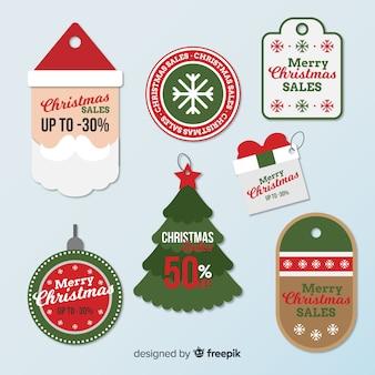 Coleção de tag de venda de natal
