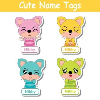 Coleção de tags de nome de animal