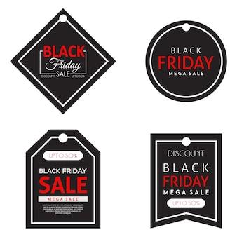 Coleção de tags de sexta-feira negra de vetor