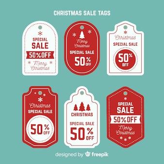 Coleção de tags de venda de natal criativa