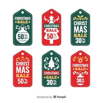 Coleção de tags de venda de natal