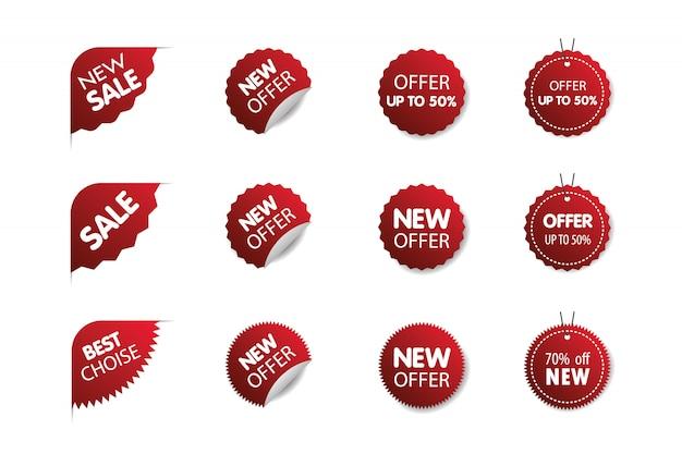 Coleção de tags de venda. oferta especial de grande promoção