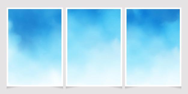 Coleção de tamanho de cartaz de gradiente de fundo aquarela de céu azul 5x7