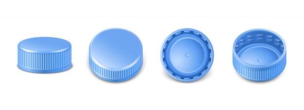 Coleção de tampas de garrafa de plástico azul na vista lateral, superior e inferior.