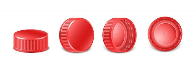 Coleção de tampas de garrafa de plástico vermelho na vista lateral, superior e inferior. com tampas de rosca para água, cerveja, cidra de refrigerante. ilustração de ícone isolado.