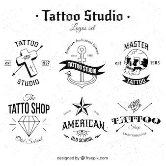 Coleção de tatuagem preto e branco