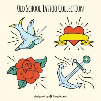 Coleção de tatuagens desenhadas mão do vintage