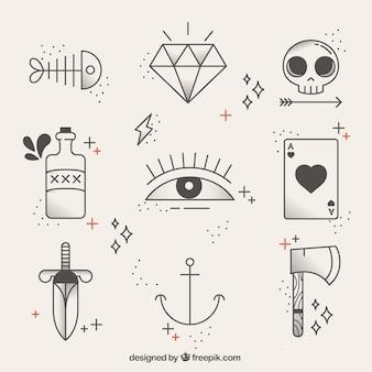 Coleção de tatuagens lineares