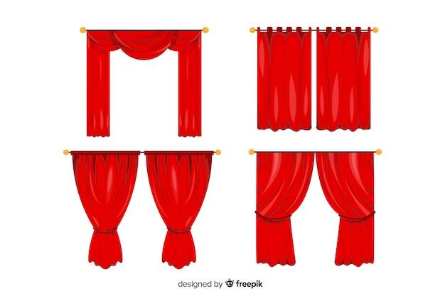 Coleção de teatro cortina vermelha plana
