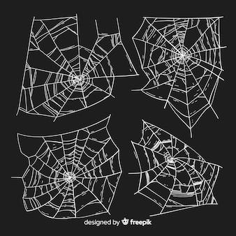 Coleção de teia de aranha de design desenhado de mão