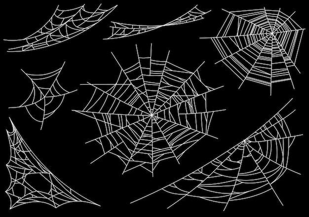 Coleção de teia de aranha, isolada no preto