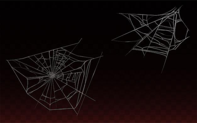 Coleção de teia de aranha realista, teia de aranha isolada em fundo escuro.
