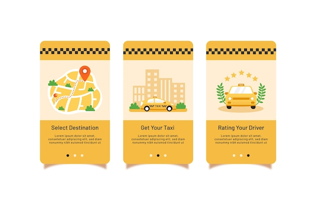 Coleção de telas de aplicativos de integração de serviço de táxi