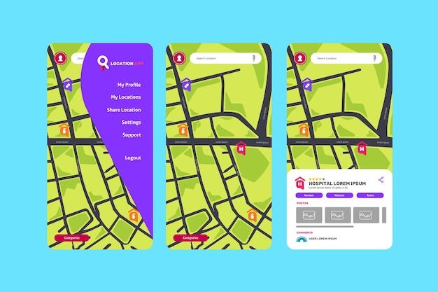 Coleção de telas de aplicativos de localização