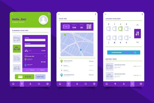 Coleção de telas de aplicativos de transporte público