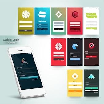 Coleção de telas de login móveis