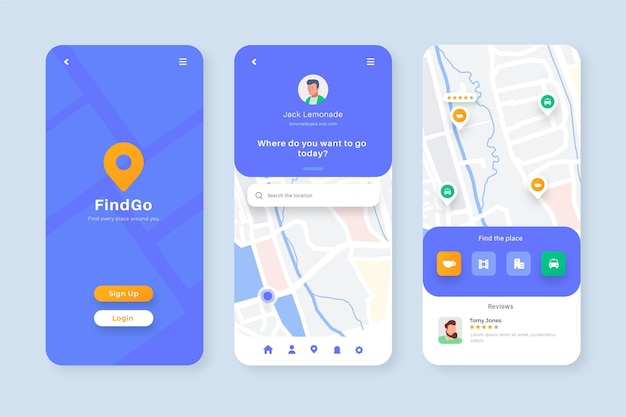 Coleção de telas do aplicativo de localização