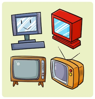 Coleção de televisões antigas engraçadas em estilo simples de doodle