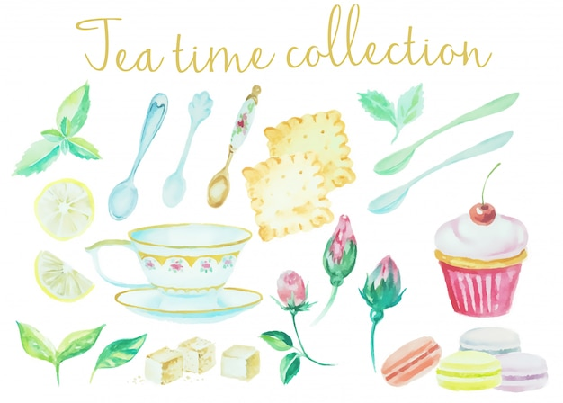Coleção de tempo de chá aquarela vintage