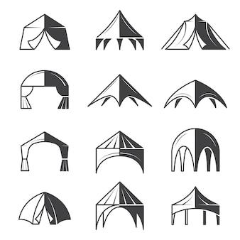 Coleção de tendas de tendas para eventos ao ar livre, edifícios, pavilhões