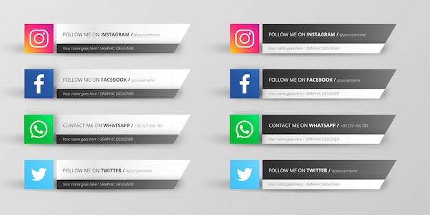 Coleção de terço inferior da mídia social moderna
