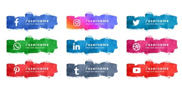 Coleção de terço inferior de mídia social aquarela abstrata