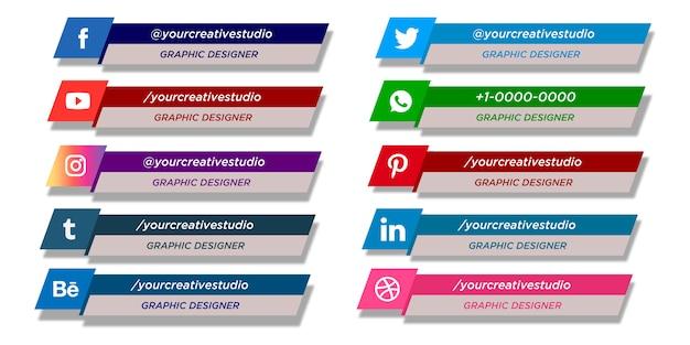 Coleção de terços inferiores das mídias sociais