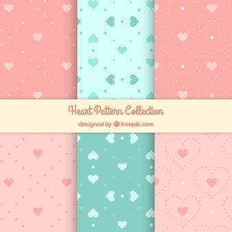 Coleção de testes padrões corações decorativos