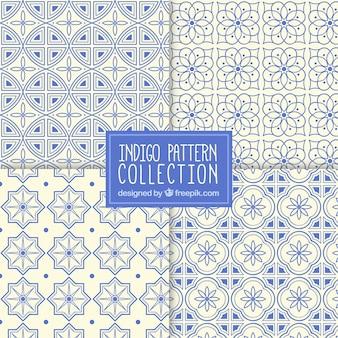 Coleção de testes padrões de mosaico ornamentais na cor azul