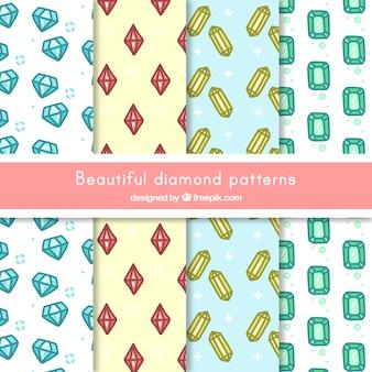 Coleção de testes padrões diamantes desenhados à mão