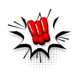 Coleção de texto em vermelho em quadrinhos com marca de exclamação efeitos sonoros estilo pop art balão de fala em vetor