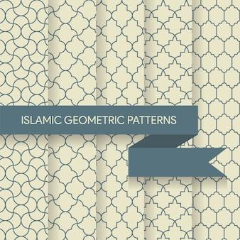 Coleção de texturas de padrões geométricos islâmicos sutis sem emenda