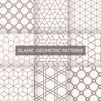 Coleção de texturas geométricas padrões islâmicos sem emenda
