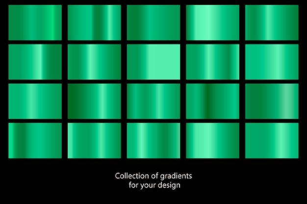 Coleção de texturas metálicas gradientes verdes.