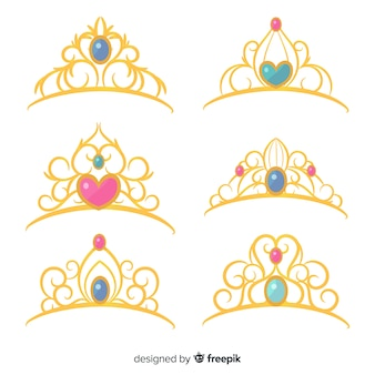 Coleção de tiara princesa dourada