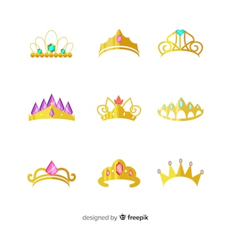 Coleção de tiara princesa plana dourada