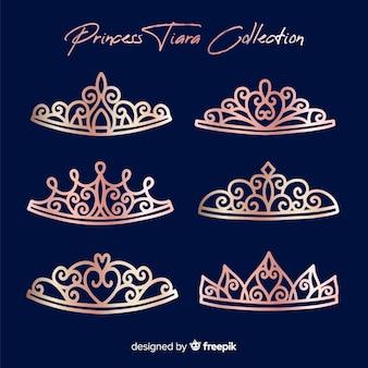 Coleção de tiara rosa princesa ouro