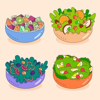 Coleção de tigela de frutas e saladas