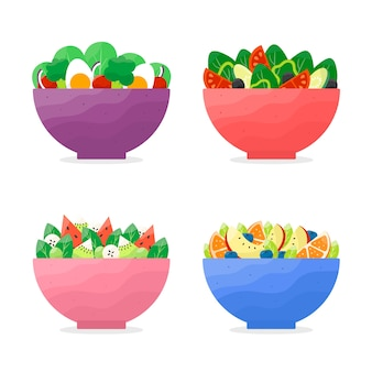 Coleção de tigelas de frutas e saladas