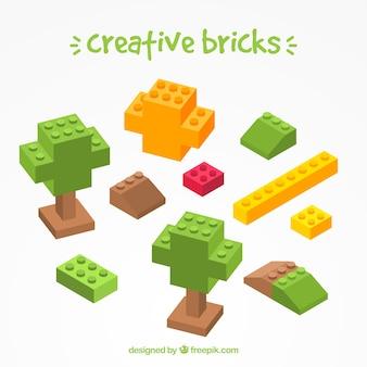Coleção de tijolos criativos