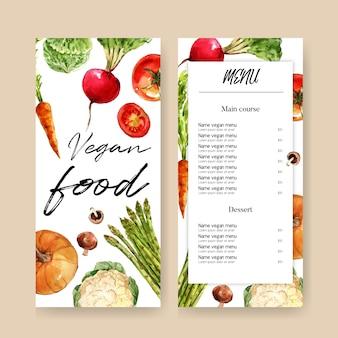 Coleção de tinta aquarela vegetal. alimentos frescos menu orgânico saudável ilustração