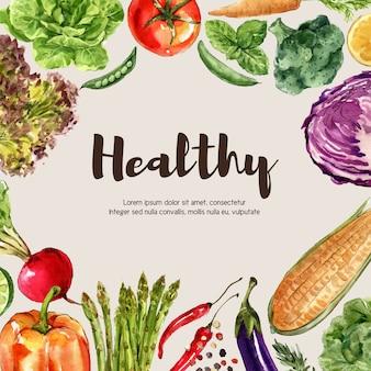 Coleção de tinta aquarela vegetal. comida fresca decoração orgânica saudável ilustração de anúncio
