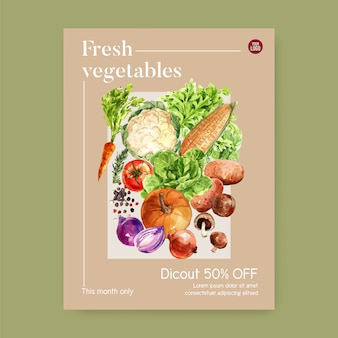 Coleção de tinta aquarela vegetal. comida saudável cartaz orgânico flyer ilustração saudável