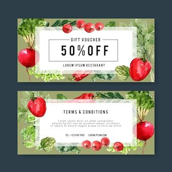 Coleção de tinta aquarela vegetal vale-presente. ilustração saudável orgânica de alimentos frescos