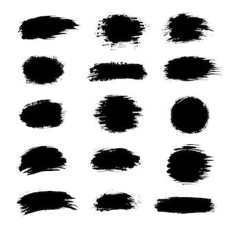 Coleção de tinta preta, pinceladas de tinta, pincéis, linhas, grungy.