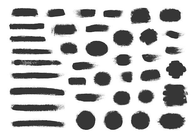 Coleção de tinta preta, pinceladas de tinta, pincéis, linhas.