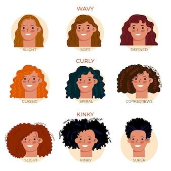 Coleção de tipos de cabelos cacheados desenhados à mão plana