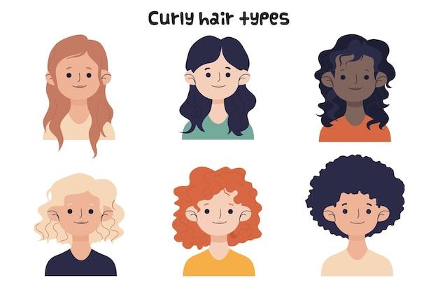 Coleção de tipos de cabelos cacheados desenhados à mão