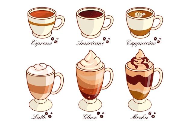 Coleção de tipos de café delicioso