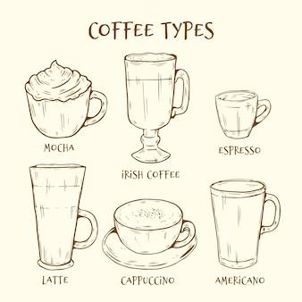 Coleção de tipos de café desenhados à mão